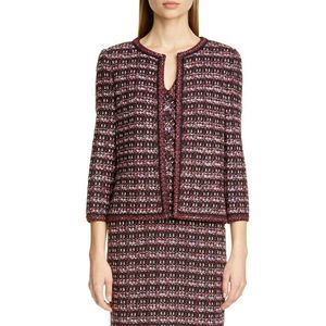 St. John Multi Tuck Tweed Knit Jacket